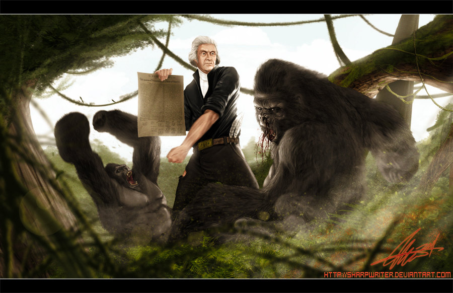 Thomas Jefferson Battling a Gorilla