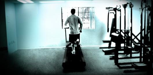 M an running on treadmill