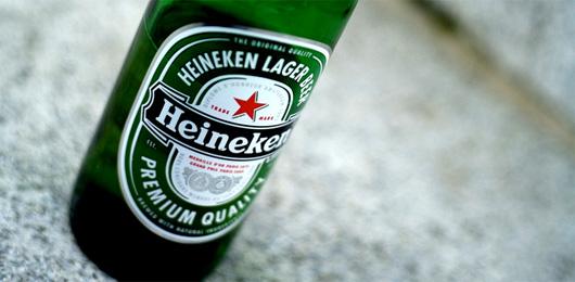 A close up of a bottle of heineken