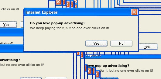 Internet explorer popups