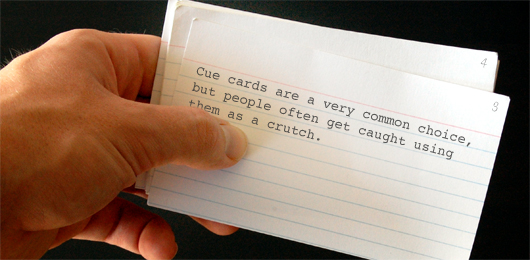Cue card with text on it