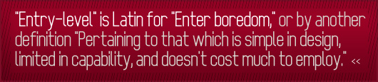 Article quote - entry level is latin for enter boredom