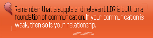 Article quote - if your communication is weak then so is your relationship