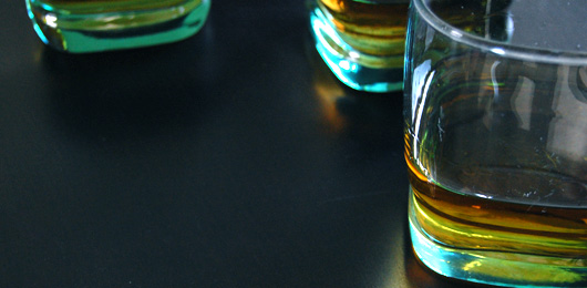 Whiskey glasses on a table