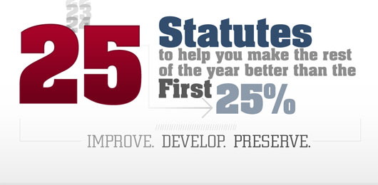 25 Statutes to Help You Make the Rest of the Year Better than the First 25%