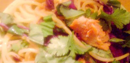 Peanut noodles close up