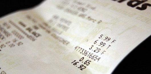 Close up of a receipt