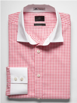 Red check shirt with white collar
