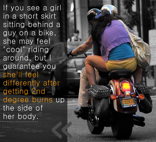A woman riding on the back of a motorcycle - article text - she\'ll feel different after getting 2nd degree burns