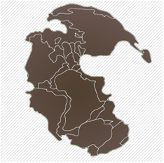 A close up of a map of pangea