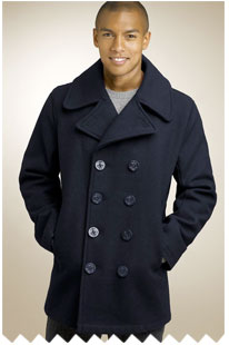A person wearing a pea coat
