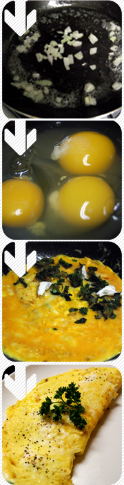 Raw eggs turned into an omlete