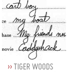 Tiger woods handwriting