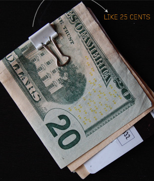 Money with a binder clip