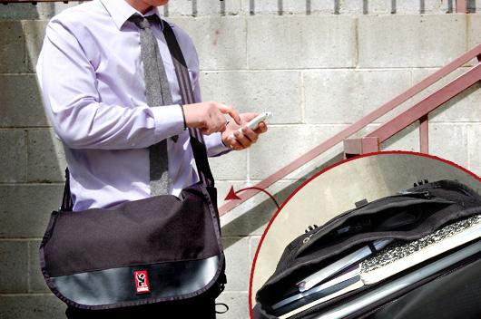 A man with the Chrome Corsair bag