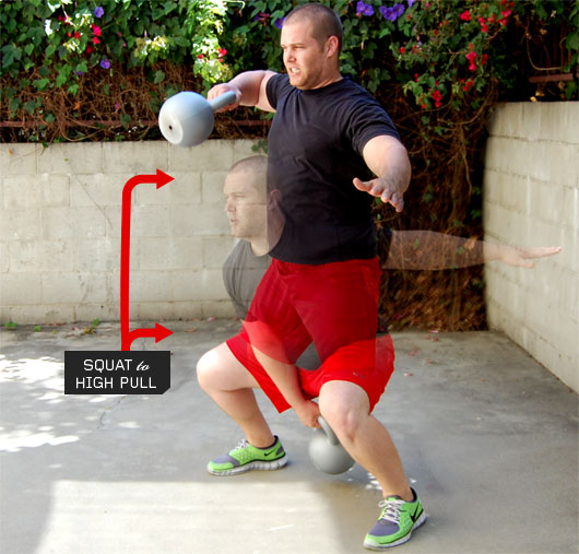 Man performing squat to high pull