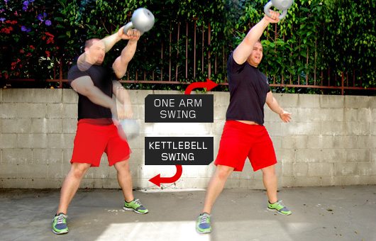 Man demonstrating kettlebell swings