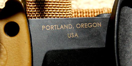 Close of portland Oregon on knife