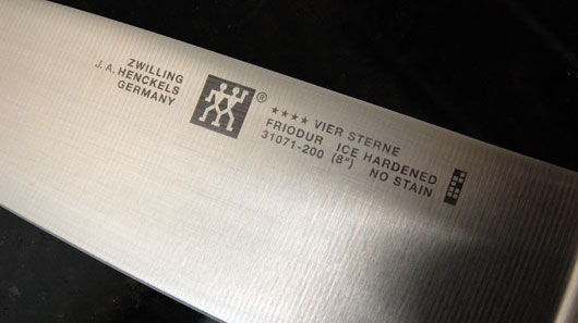 Close up of knife text