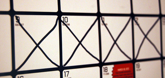 Calendar with x\'s