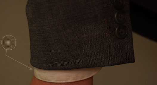 "Your dress shirt cuff should stick out about 1/2"" from your jacket"