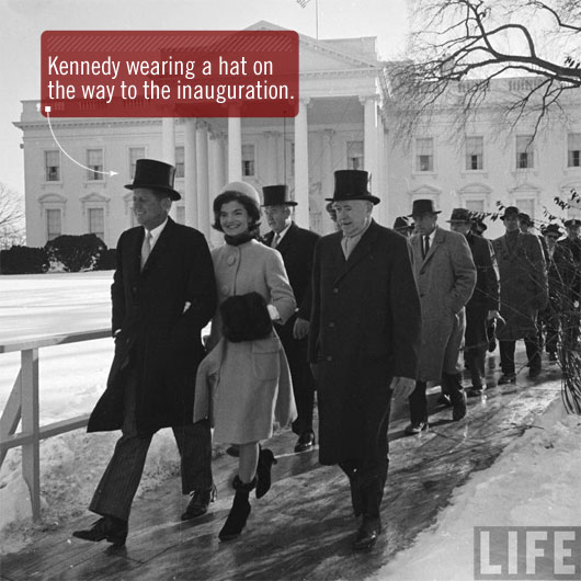 Kennedy wearing hat at inauguration