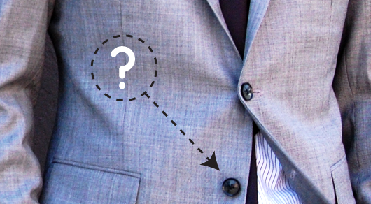 Bottom button of suit with question mark