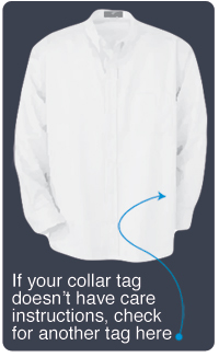 Diagram of where care tag is on shirt