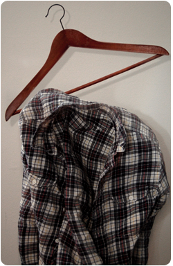 Plaid shirt with hanger