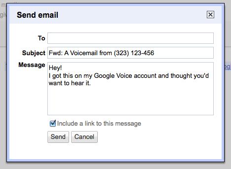 Google Voice screenshot  send email