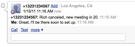 Google Voice message screenshot