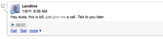 Google voice screenshot of voicemail message