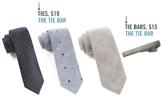Ties and tie bar from the tie bar