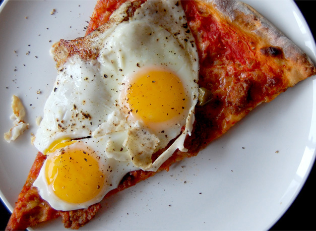 Left over pizza with eggs