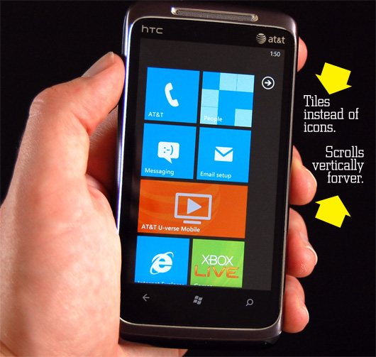 windows phone - tiles instead of icons, scrolls vertically forever