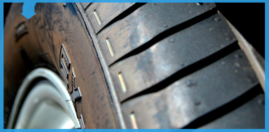 Close up of tire tread