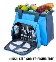 A blue bag of food for picnic