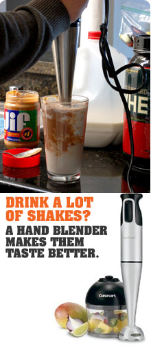 Protein shake with a hand blender