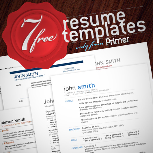 7 free resume templates - Resume Templates For Designers