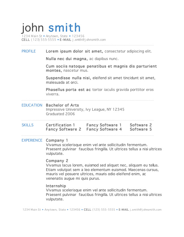 free resume template microsoft word - One Page Resume Format