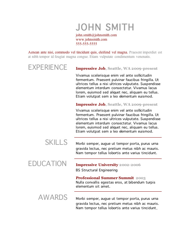 free resume template microsoft word - One Page Resume Template Free