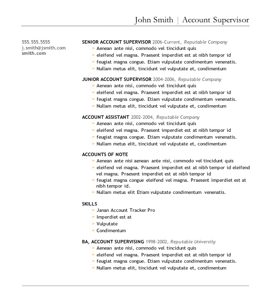 Resume Templates In. Sample Word ...