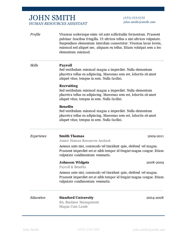 resume template samples for free