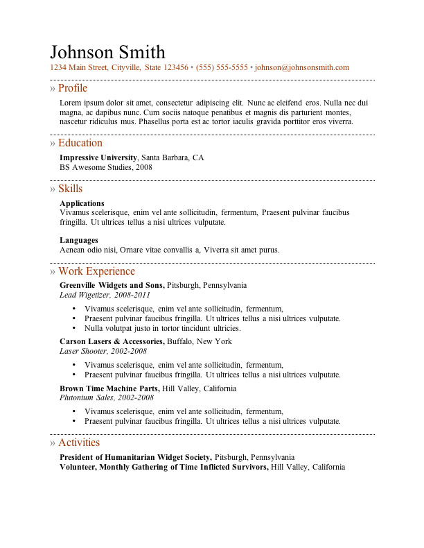 free resume template microsoft word - Word Resume Template 2010