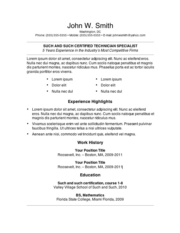 Example Resume Templates Examples Of One Page Resumes Sample Resume