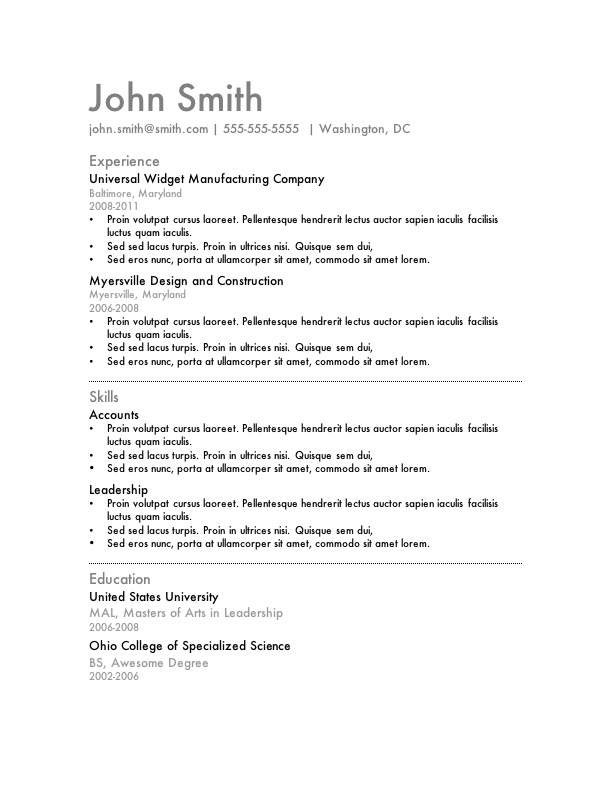 free resume template microsoft word - Template For Resume