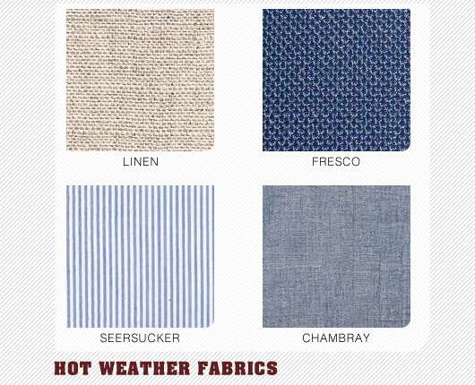 Hot weather fabrics collage