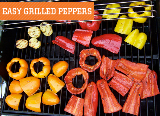 Grilled peppers on grill