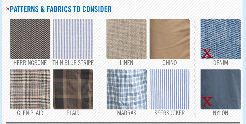 patterns and fabrics for men's shorts