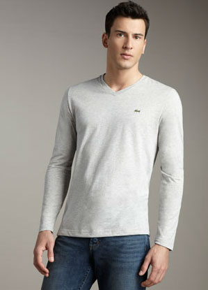 v neck cotton long sleeve shirt